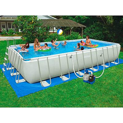Прямоугольный каркасный бассейн Ultra Frame, 732х366х132см, аксессуары, песочный насос-фильтр