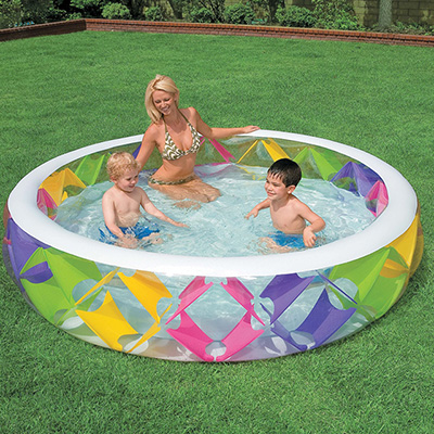 """Семейный надувной бассейн """"Крестики"""", 229*56 см, надувное дно, клапан"""
