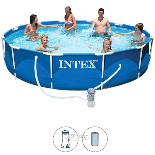 200cd1ec374e1 Каркасный бассейн Intex Metal Frame 366*76 см, фильтр-насос купить в ...